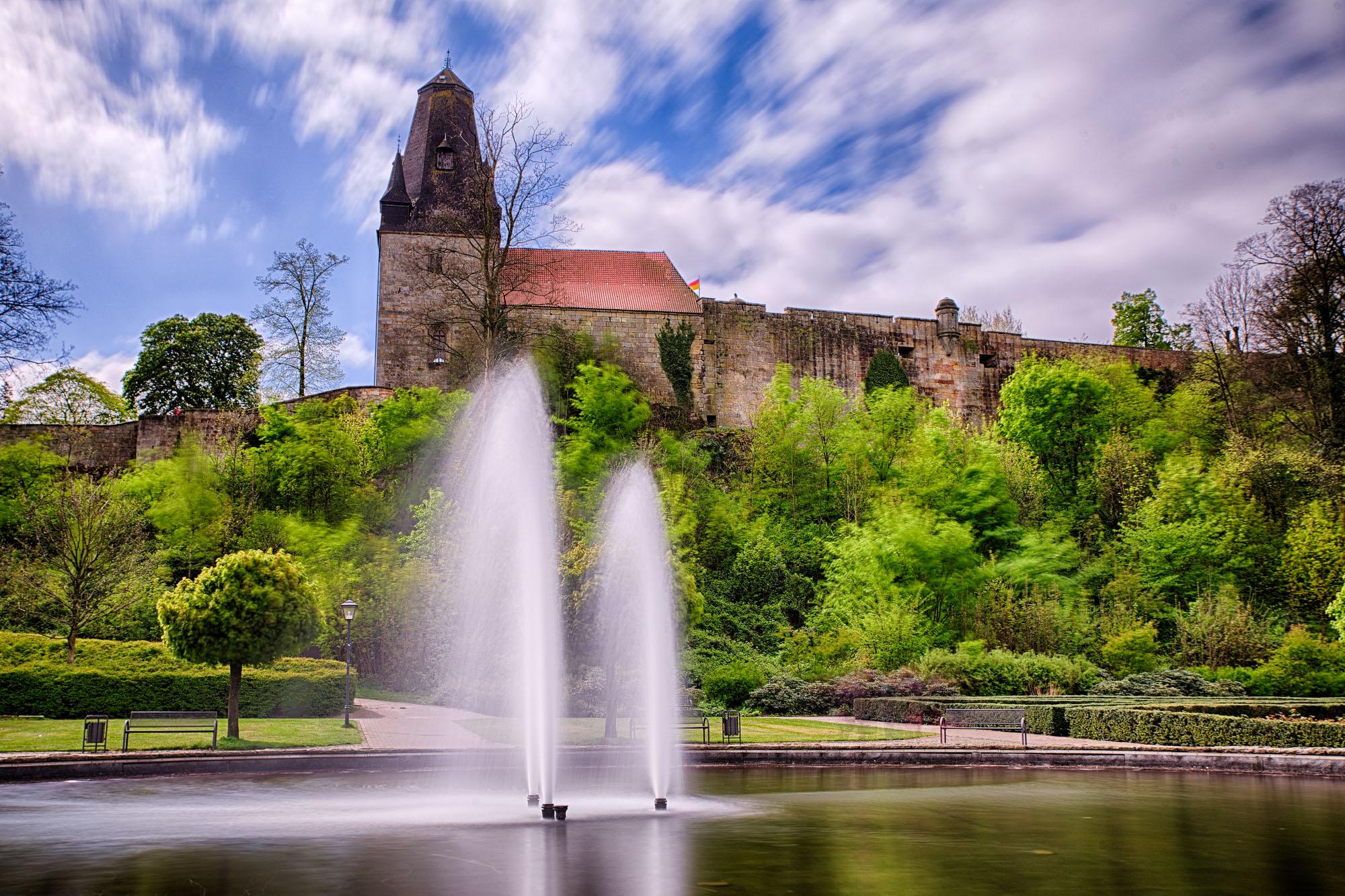 Schloßpark Bad Bentheim unterhalb der Burg
